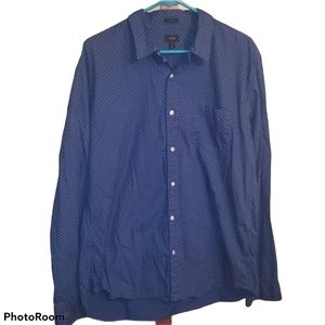 J. Crew Blue Button Down with White dots